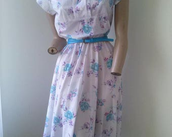80s floral day dress with leather belt size 8-10