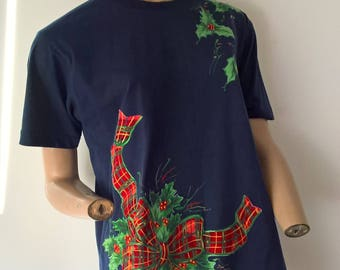 Handpainted and Applique Vintage Ugly Xmas Tshirt size 14-16