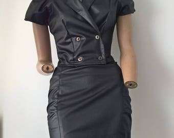 Vintage 80s 90s 2 piece leatherette ruched cap sleeved double breasted cap sleeved overshirt and ruched pencil skirt size 4-6-8