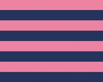 """Hot Pink and Navy Blue One Inch 1"""" Stripe  - Riley Blake Designs - Jersey KNIT cotton lycra stretch fabric - choose your cut"""