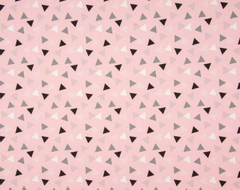 Pink Triangles Cotton Lycra Jersey Knit Fabric