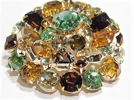 Mid Century Rhinestone Brooch 1960s Vintage Hollywood Layered Dimensional Tiered Brooch Amber Topaz Peridot Green Citrine Mothers Day Easter