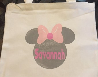 Personalized Minnie/mickey mouse canvas tote! Personalized bag!