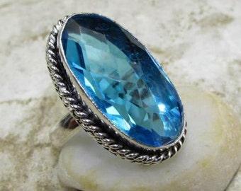 Blue Topaz Ring Size 8 1/2