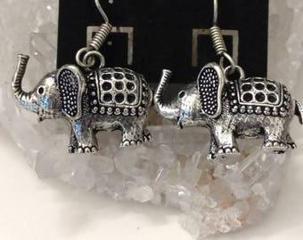 Tibetan Silver Elephant Earrings
