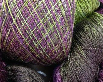 Silk yarn Lace weight Hand dyed yarn