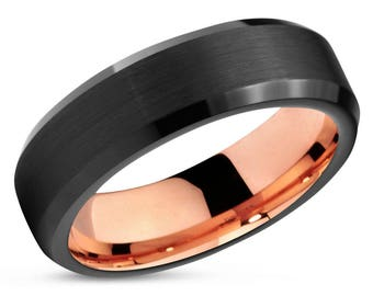 Black Tungsten Ring Rose Gold Wedding Band Ring Tungsten Carbide 6mm 18K Tungsten Ring Man Wedding Band Male Women Anniversary Matching
