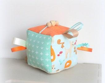 Soft baby block, Sensory baby toy, teething toy, sensory block, ribbon fabric block, baby plushie, activity cube, crib toy, crinkle toy