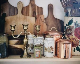 Large Brass Candelabra / Brass Candelabra / Brass Candlestick Holder / Brass Menorah / vintage brass candelbra
