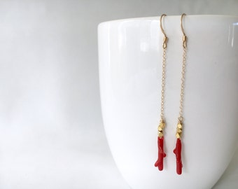 Gold Drop Earrings Featuring Vintage Red Coral Beads, Gold Fill