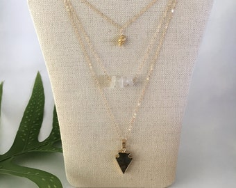 Sea Shell Charm, Sea Glass Bar, and Arrowhead Druzy, Multi Strand Necklace, 14kt Gold Fill