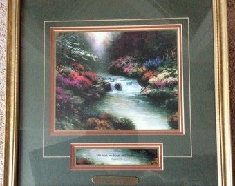 """Thomas Kinkade """"Beside Still Waters"""" Framed Lithograph Painting, Vintage 1996"""
