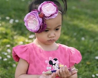 Baby girl headbands, Birthday headband, floral headband, Infant headbands, hair accessories, baby headbands, newborn headbands