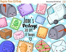50% OFF Kawaii Postage and Stamps Clipart - Kawaii Download - Instant Download - Mail Items - Seasonal