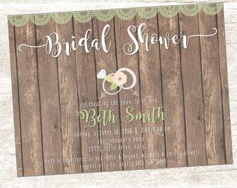 Rustic Lace Bridal Shower Invite