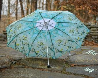 "Custom Designed Umbrella blue floral print,41"" span,MANUAL Lightweight Umbrella,Flower Print,Flower Photography,Rain,Umbrellas,Nature,Rainy"