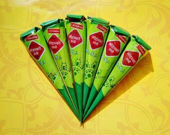 6 Henna Cones - 100% pure Rajasthani henna  cones
