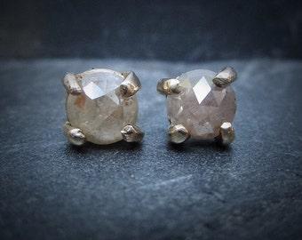 Raw Diamond Stud Earrings, Rose Cut Diamond Studs, 14k Gold Diamond Stud Earrings