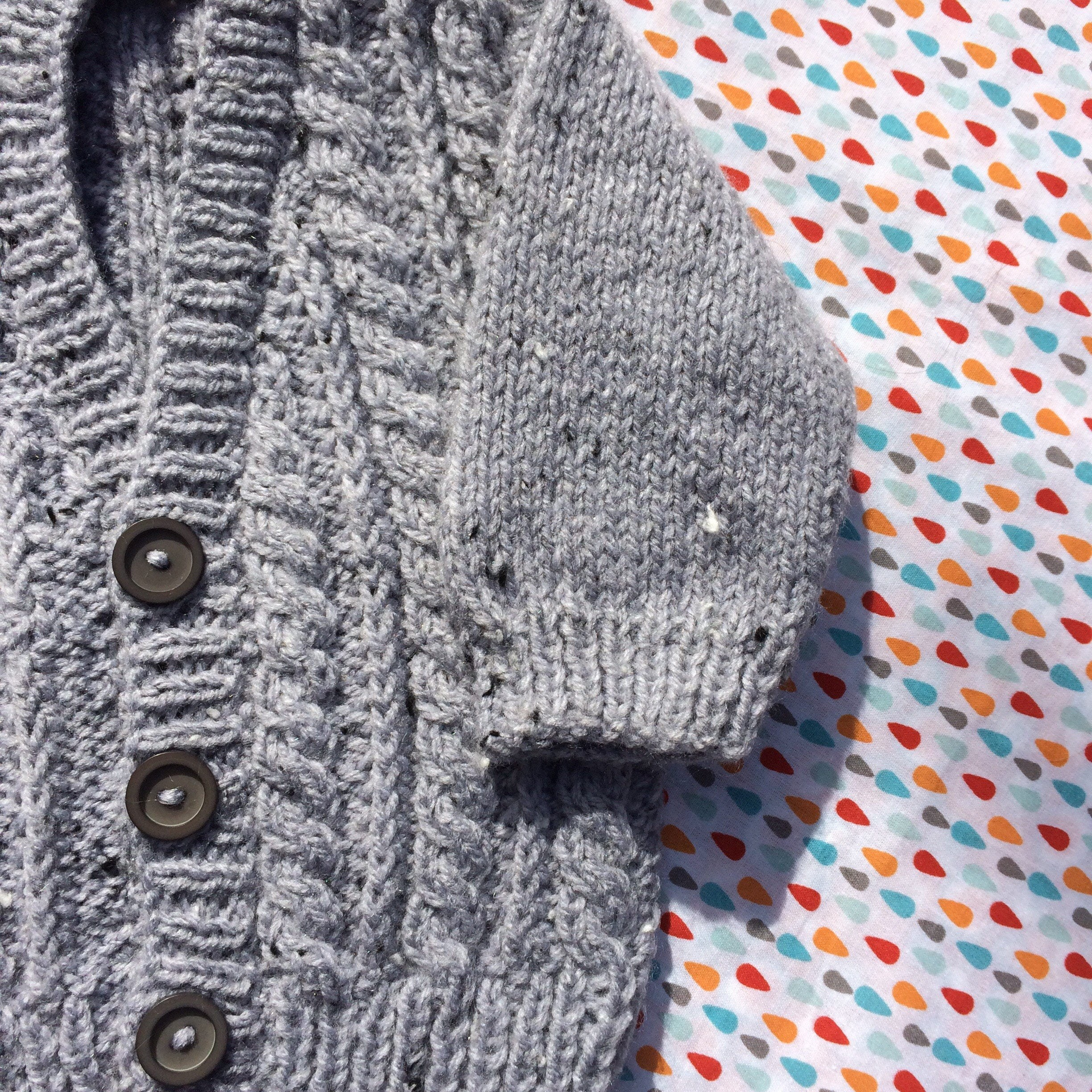 Hand knitted baby cardigan grey coloured baby cardigan hand