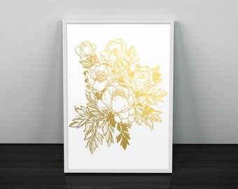 Gold Foil Peony Botanical Art Decor Floral Illustration Flower Print