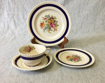 Vintage Johnson Brothers Old English Blue Floral China, Cup and Saucer, Bread Plate and Lunch Plate
