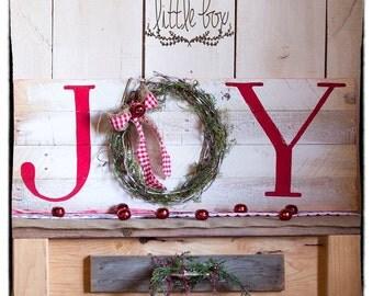 Joy Sign / Wreath Sign / Christmas sign / Wood Sign / Mantel Decoration / Christmas Decor / Christmas Wreath / Little Box / White Sign / Joy