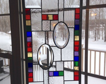 SALE! Stained Glass Window, Rainbow Colors, Stained Glass Panel, stained Glass Suncatcher, leaded glass window, stained glass art, window ha