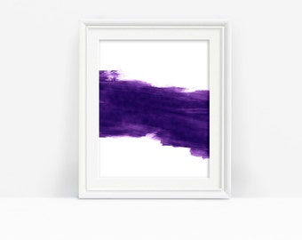 Printable Abstract Art, Purple Brushstrokes, Modern Print, Home Decor, Instant Download