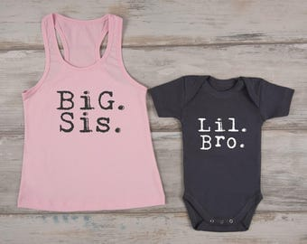 Big Sister Little Brother Set, Big Sis Pink Tank Top & Lil Bro Graphite Gray Baby Bodysuit Set, Big Sister Gift, Little Brother Outfit