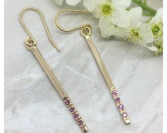 Solid Yellow Gold Drop Garnet Earring, gift for her, minimalist earrings, fine Jewelry, Gold earring, Drop earrings