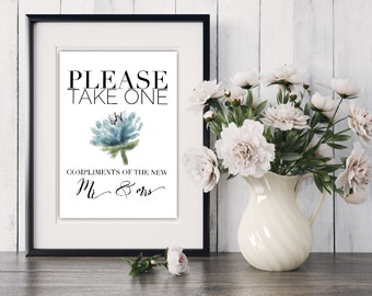 Please Take One Favors Sign, Printable Wedding/Reception Sign Instant Download