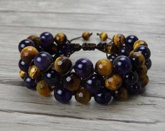 tiger eyes beads bracelet braid bead bracelet natural stone bead bracelet gemstone bracelet Amethyst beads bracelet SL-0371