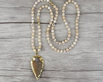 Gold arrow pendant necklace Bead long necklace yellow agate bead necklace Satement necklace Long bead necklace Gemstone arrow necklace NL030