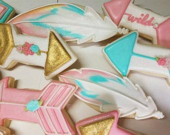 Arrow cookies, feather cookies,Boho baby shower cookies,boho baby sprinkle,girl baby shower cookies,boho cookies, feathers and arrows ,