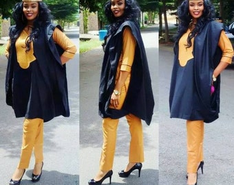 3 pcs Agbada Black and Gold for Women