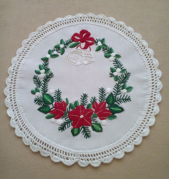Hand-embroidered Christmas doily, with hand-fringed borders (CHR-DOI-258)