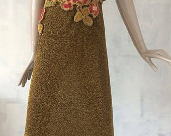 metallic gold formal column gown dress-oversized collar cape-embroidery---s/m
