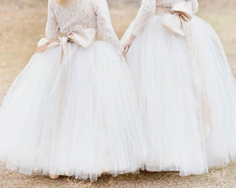 Flower girl tulle skirt elastic waistband/ custom color tulle skirt / custom size tulle skirt / kids tulle skirt / little girl tulle skirt