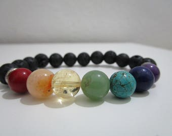 Seven chakras, bracelet seven chakras, clasp, bracelet for women, Buddhist jewelry, Yoga bracelets, gift for woman, Lava