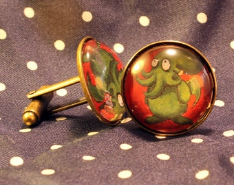 """Cthulhu cuff links """"Cute-thulu"""", vintage look on brass fixings. Ideal for Father's Day, birthdays, Christmas presents or themed events."""