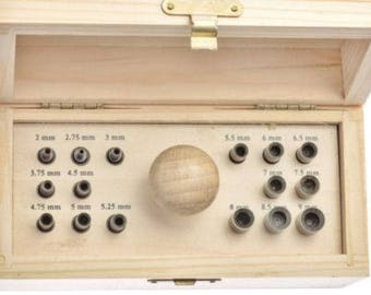 16 Punch Bezel Setting Tool Set In Wood Box With Handle And Punches Sizes 2mm-9mm (13E)