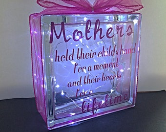 Mothers day glass block, night light, Mother's Day gift, light up gift