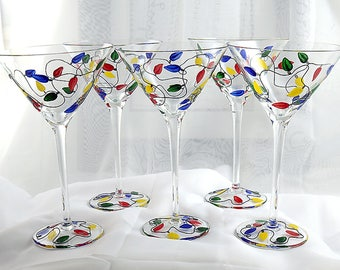Martini / Margarita / Wine Long Stemmed Hand Painted Glasses Hand Crafted Raised Wire Stems Set of 5