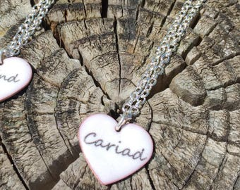Cariad Enamel Heart Necklace