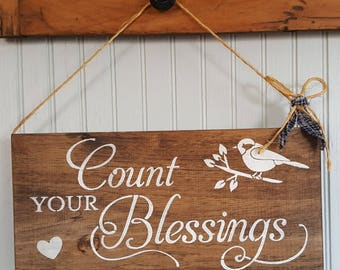 Wood Signage Count Your Blessings