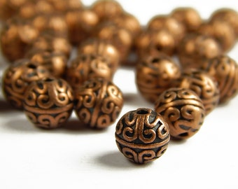 10 or 25 Pcs - 7mm Copper Spacer Beads - Metal Spacer Beads - Copper Beads - Red Copper Spacers - Jewelry Supplies