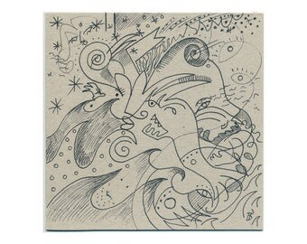 Abstract picture 15/15 cm (5.9/5.9 inch) original art - hand-drawn