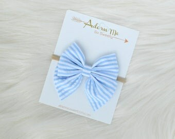 Blue and White Striped Sailor Bow // 3 sizes // headband or clip