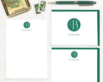 complete personalized stationery set - REGAL MONOGRAM - note cards - notepad - monogrammed stationary - custom letter writing set
