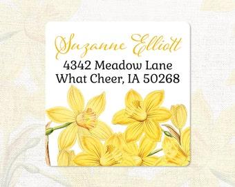 personalized return address label - YELLOW DAFFODILS - narcissus - square address label - address sticker - flower label - set of 48